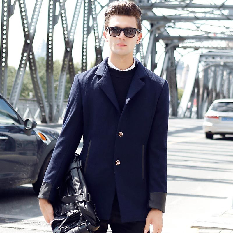 Brand new men's coat for fall/winter leisure slim long Cashmere Wool trench coat jacket wholesale England blends coats gifts