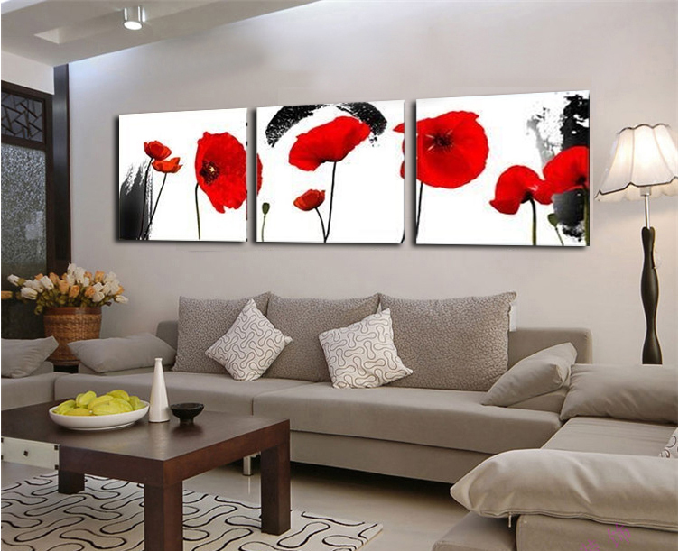 rouge coquelicots fleur 3 pi ce d 39 art de mur impressions. Black Bedroom Furniture Sets. Home Design Ideas