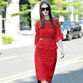 Top Fashion Women s Elegant Slim Beading Twin Set Long Sleeve Blouse Bodycon Skirt Lace 2