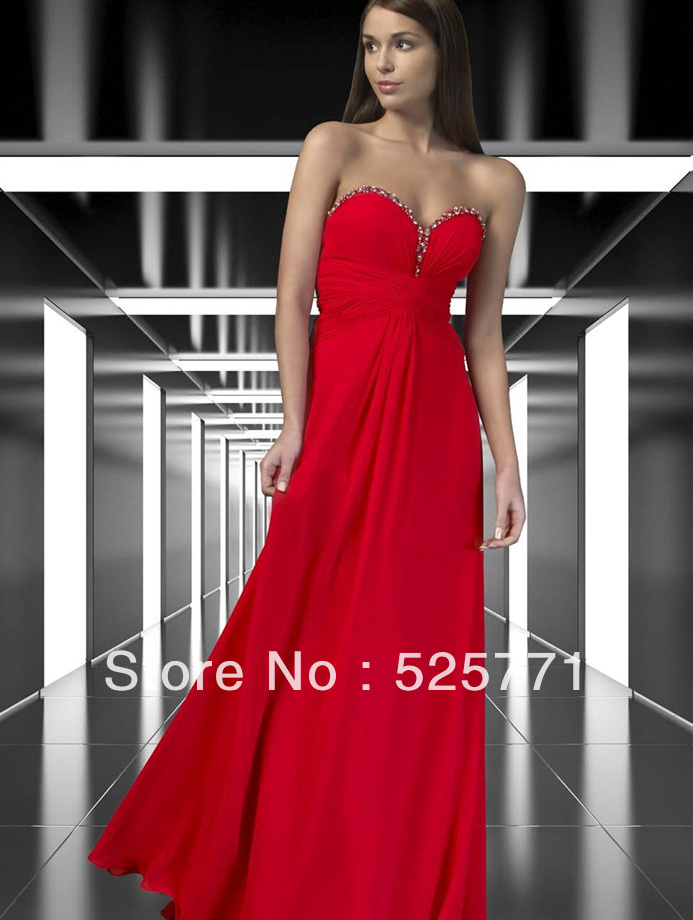 Hot style Floor length Red Chiffon Prom Graduation Dresses Sweetheart Beaded Party Bridesmaid Gown Custom Size - Angel matchmaker marriage supplies store