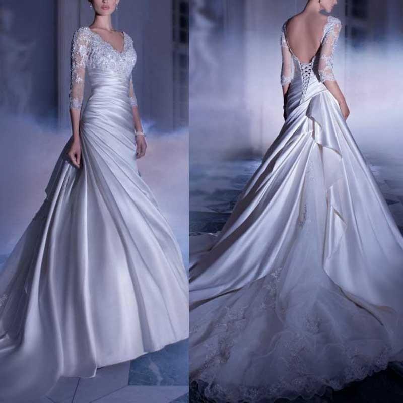 Aliexpress Buy Elegant Mermaid Wedding Dresses With Sleeves Sexy V Neck Pleat Wedding