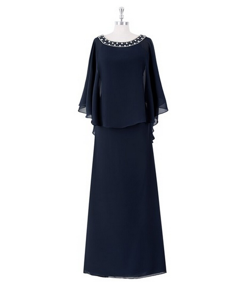 Navy blue 2016 mother of the bride dresses chiffon for for Navy dresses for weddings