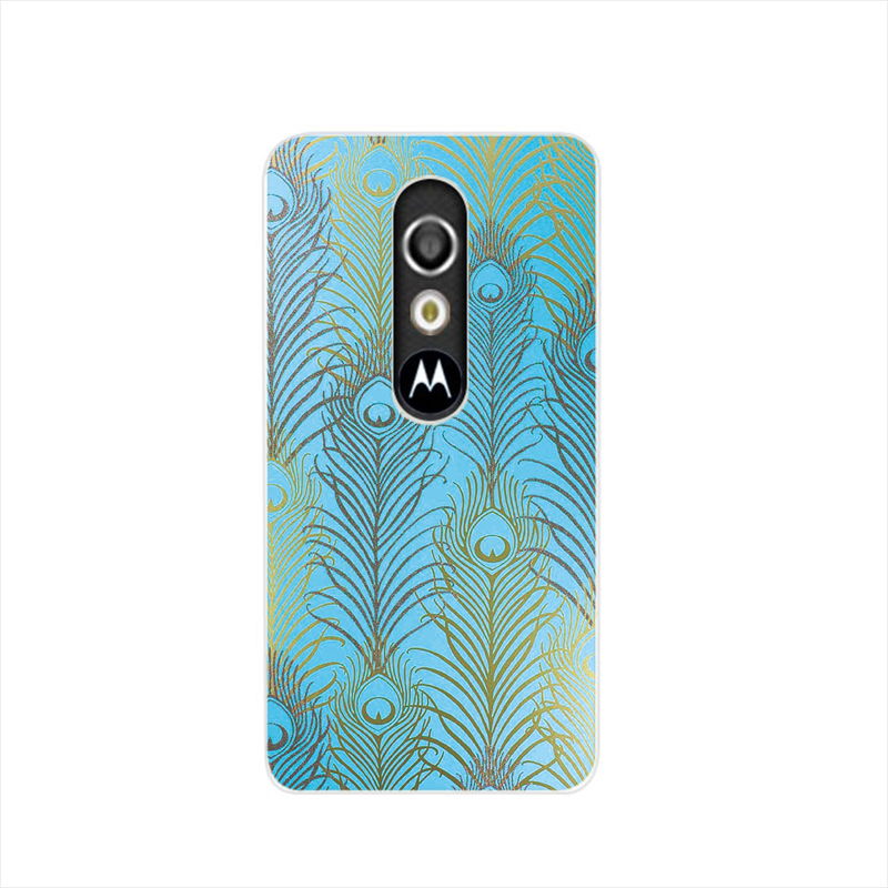 16688 Feather pattern aqua teal turquoise cell phone case cover for For Motorola Moto G3 G4 X+1 PLAY PLUS ONE style(China (Mainland))