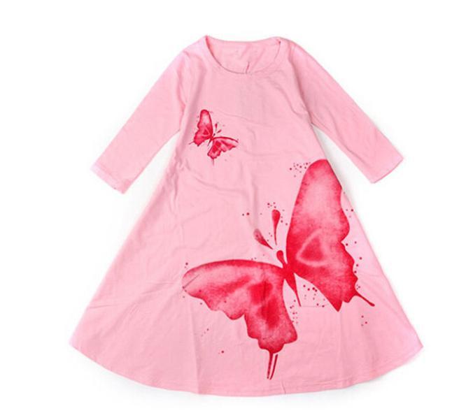 Скидки на Корейская девушка одежда весна осень christams серый розовом платье девушки ну вечеринку одежды больших размеров бабочка труба ребенка принцесса