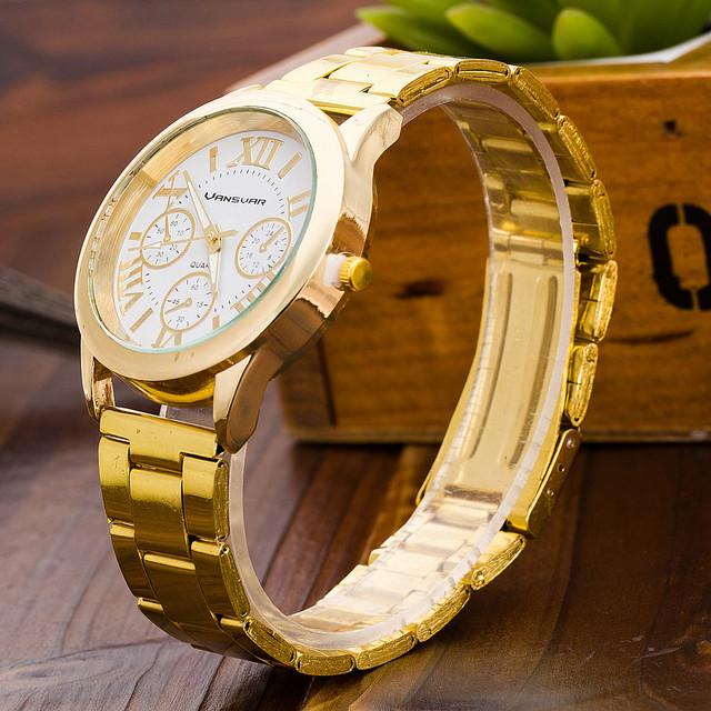 Zegarek damski VANSVAR elegancki i klasyczny złoty kolor