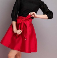 Fashion Womens Vintage Retro Hepburn Bow Tie Solid High Waist A-Line Knee-Length Skirts Ball Gown