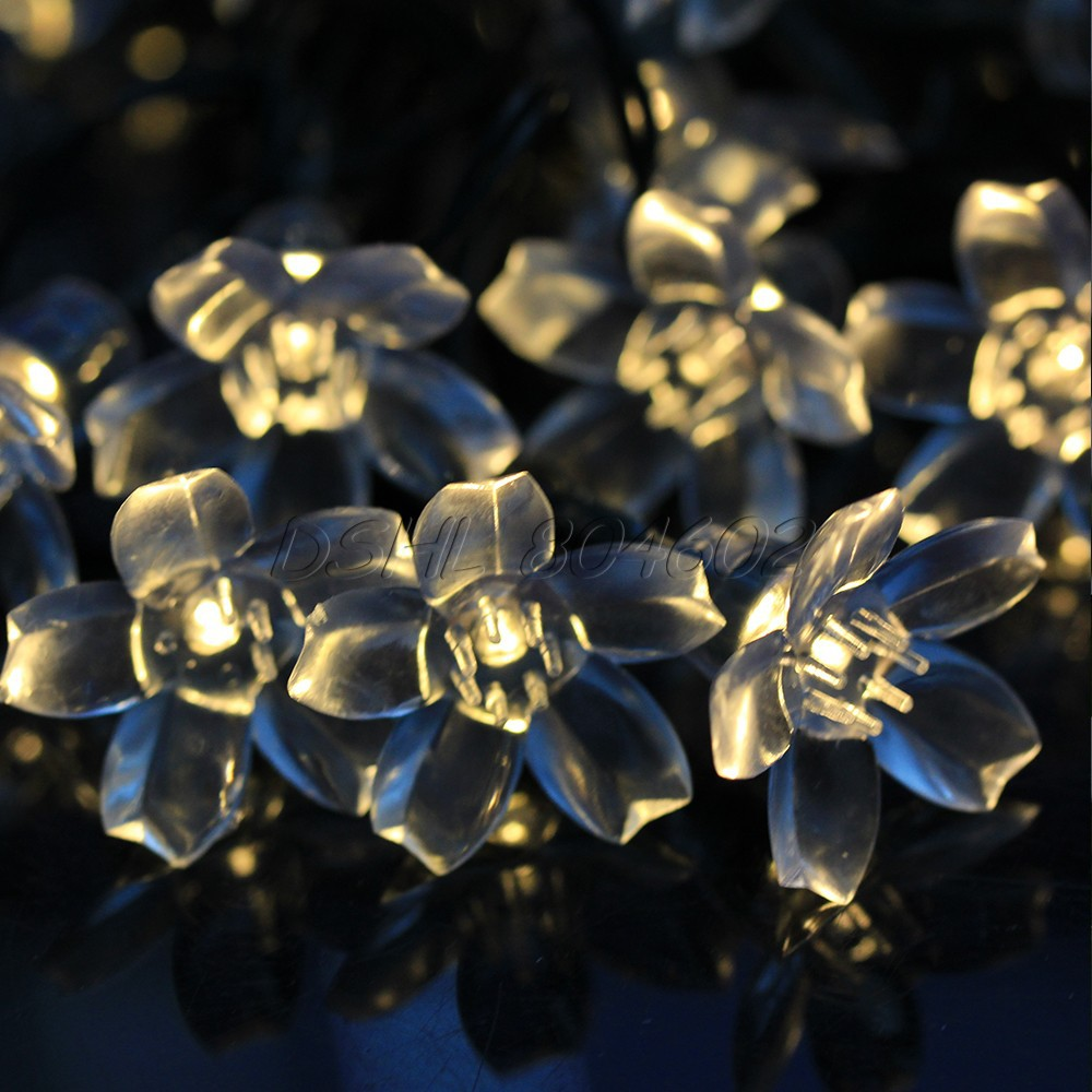 Solar Power 50 LED Peach Blossom Decorative String Light Xmas Decor (China (Mainland))