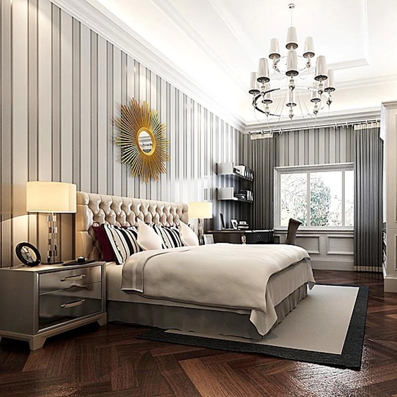 Free shipping10058 for livingroom bedroom european stripe for Grey striped wallpaper living room