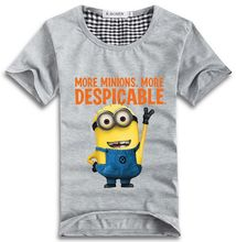 Hot! 2015 Minions Couple T Shirt Lovers clothes Women's Men's Cartoon short sleeve t-shirts fashion Cotton t-shirt Free Shipping