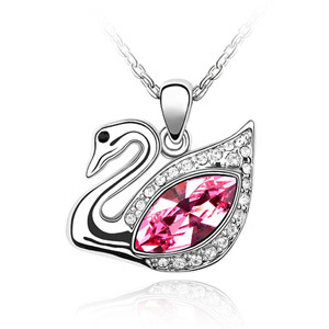 High Quality Fashion Animal Crystal Swan Pendant Necklace Women Children Jewel Made With Genuine Swan ELements(China (Mainland))