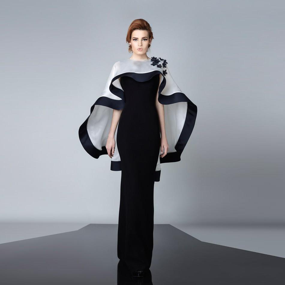 Modest Black Evening Dresses With White Cape Dress Abayas