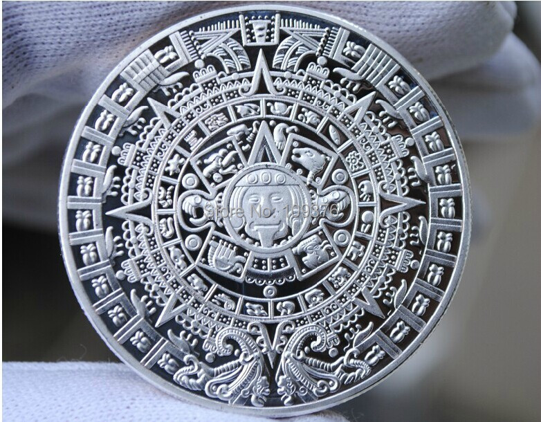 free shipping wholesale 5 pcs/lot 999 silver clad replica Mayan 2012 Prophecy Coin,silver plated bullion(China (Mainland))