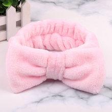 Las mujeres de lana de Coral arco banda de pelo de Color sólido lavar el maquillaje de la cara suave diademas de niñas de moda turbante envolturas cabeza accesorios para el cabello(China)