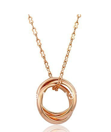 Italina Korean fashion tricyclic necklace female short paragraph clavicle chain rose gold accessories