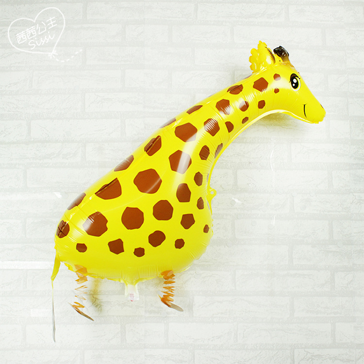 Lucky 10pcs/lot Cute Giraffe Shaped Walking Balloon Animal Inflatable Foil Balloons Kids Classic Toys Party Decorations Globos(China (Mainland))