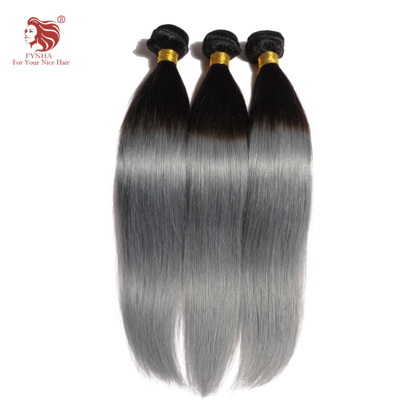 1pcs/lot ombre gray hair extension grade 6a human straight hair extensions for your nice hair brazilian hair weave bundles
