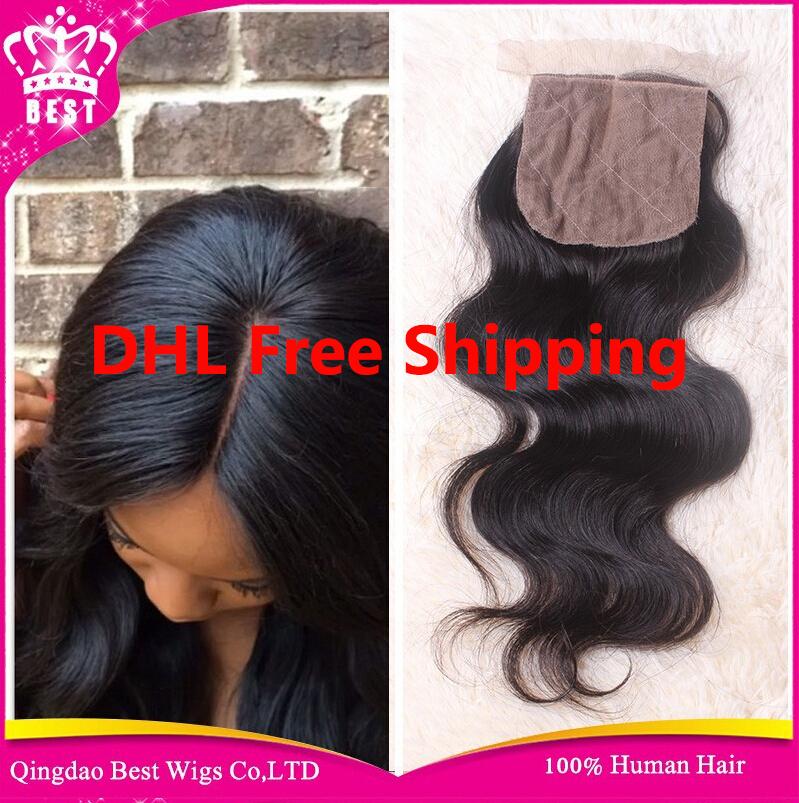 Brazilian Body Wave Silk Base Closure,Free/3 Part Cheap Silk Base Closure Brazilian Virgin Hair,4x4 Brazilian Silk Top Closures(China (Mainland))