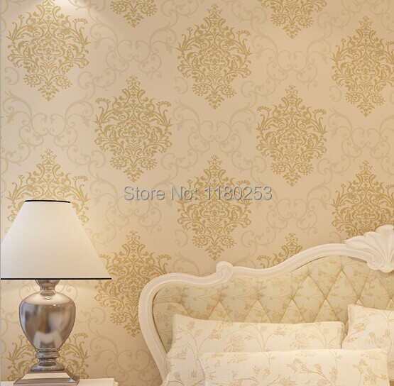 Sia wallpapers decoration damask wallpaper non woven wall for Damask wallpaper living room ideas