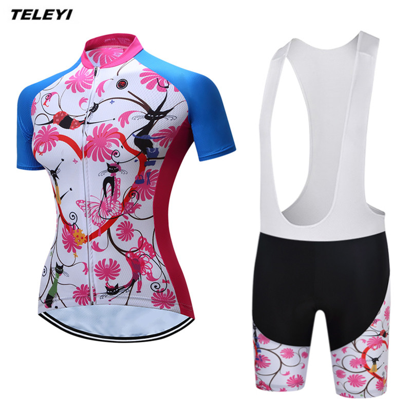 TELEYI Flower Pink MTB Bike Jersey Women's Cycling Clothing Ropa Ciclismo Pro Jersey Short bicycle Top Shirt Maillot Breathable(China (Mainland))