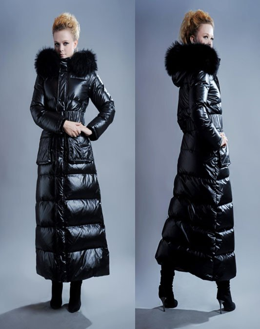 Fashion Women Down Filled Coat With Real Fur Collar ladies Trench