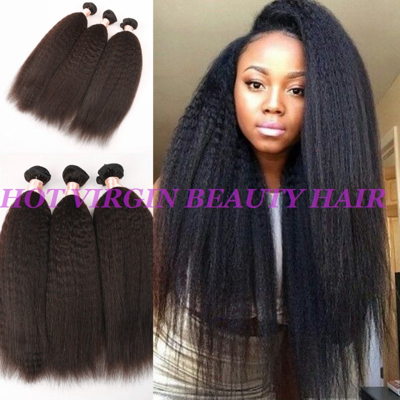 8A Peruvian Virgin Hair Straight Coarse Yaki 3Pcs/Lot Peruvian Hair Weave Bundles Italian Yaki 6