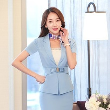Fashion Ladies Sky blue Blazer Women Summer Jackets Short Sleeve Professional Business Work Wear Clothes Office Uniforms Style(China (Mainland))