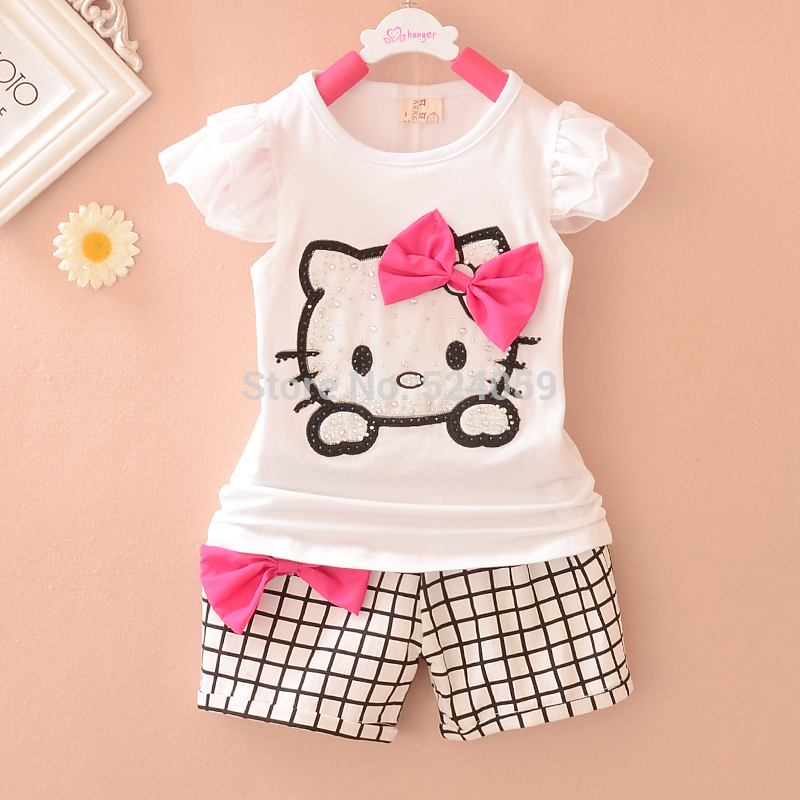 Children's Sets Cartoon hello kitty Girls Sets Short sleeve + plaid shorts suit children suit children's clothes sales(China (Mainland))