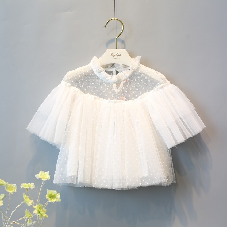 2016 New clothing GirlS Mesh Lace short sleeve Hollow shirt dot printed kids summer clothes children outfits tops tee blouses