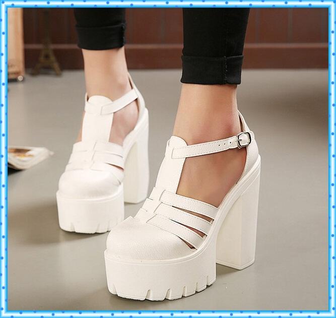 buckle black white sandals summer shoes platform sandals 2015 chucky high heels sandals for women punk