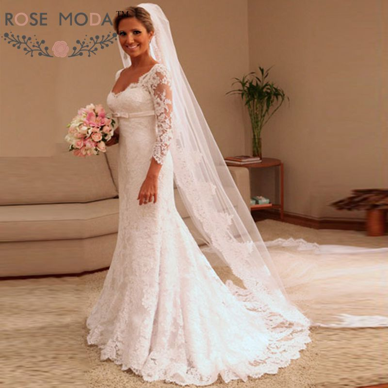 Buy plunging v neck 3 4 sleeves fitted 3 4 sleeve wedding dress a line