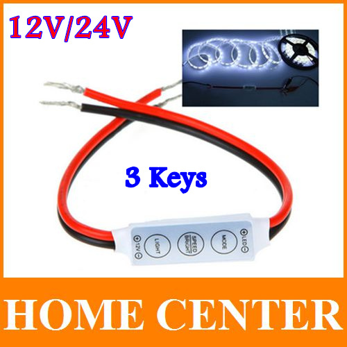 5PCS DC12V/24V 3 Key Dimmer LED Strip RGB Controller Mini LED Single Color Controller for 5050 3528 5730 with tracking number(China (Mainland))