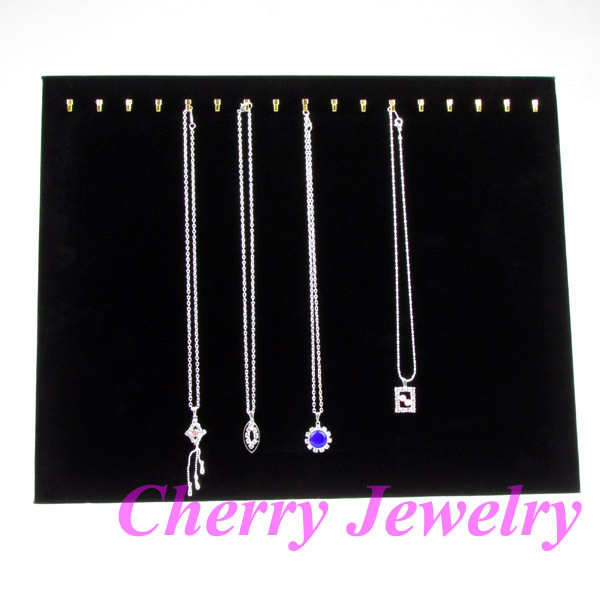 Wholesale High Quality Black Velvet Necklace Display Stand Holder Board For 17 Pcs