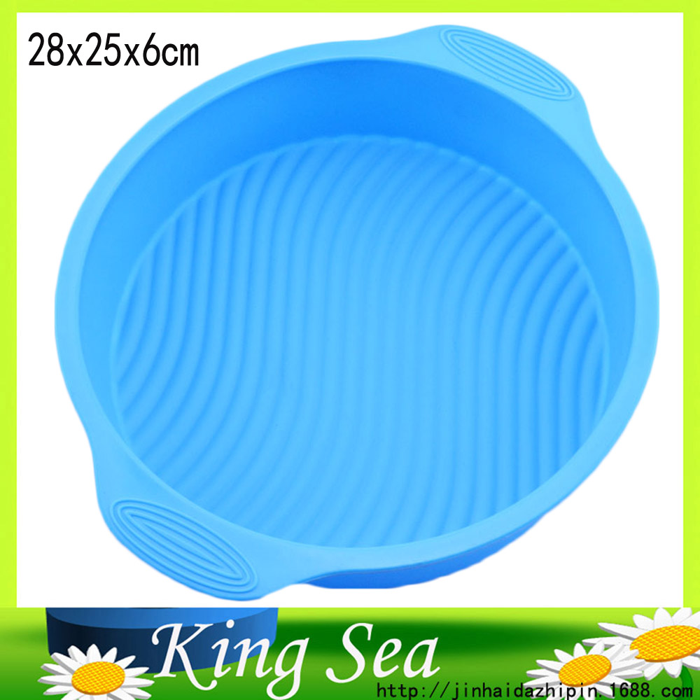 Good Quality 100% Food Grade Round Shape 28X25CM Silicone Cake Pan With Handle,Silicone cake mould, DIY Cake tools(China (Mainland))