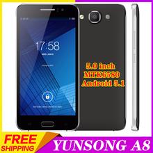 2016 Heat Original 5.0 inch YUNSONG A8 smartphone MTK6580 Quad Core 1.3GHz 960X540P 5MP Camera Dual WCDMA/GSM SIM Mobile phone