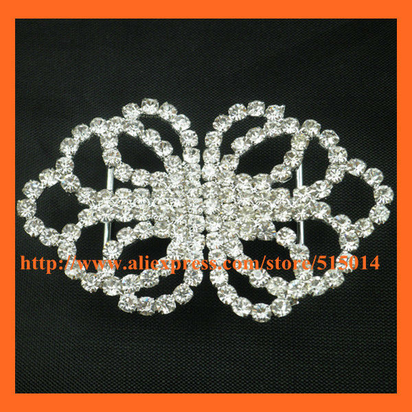 Free Shipping ! 100pcs/lot Silver Interlock Rhinestone Buckle. Rhinestone Pair Buckle ,New Styles Buckle For Invitation Card