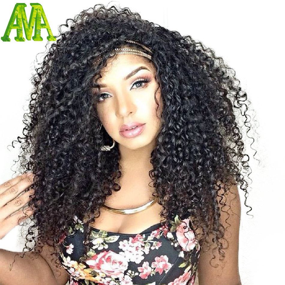 2016 New Glueless Full Lace Human Hair Wigs Kinky Curly Brazilian Natural Color Lace Front Wigs With Baby Hair For Black Women(China (Mainland))