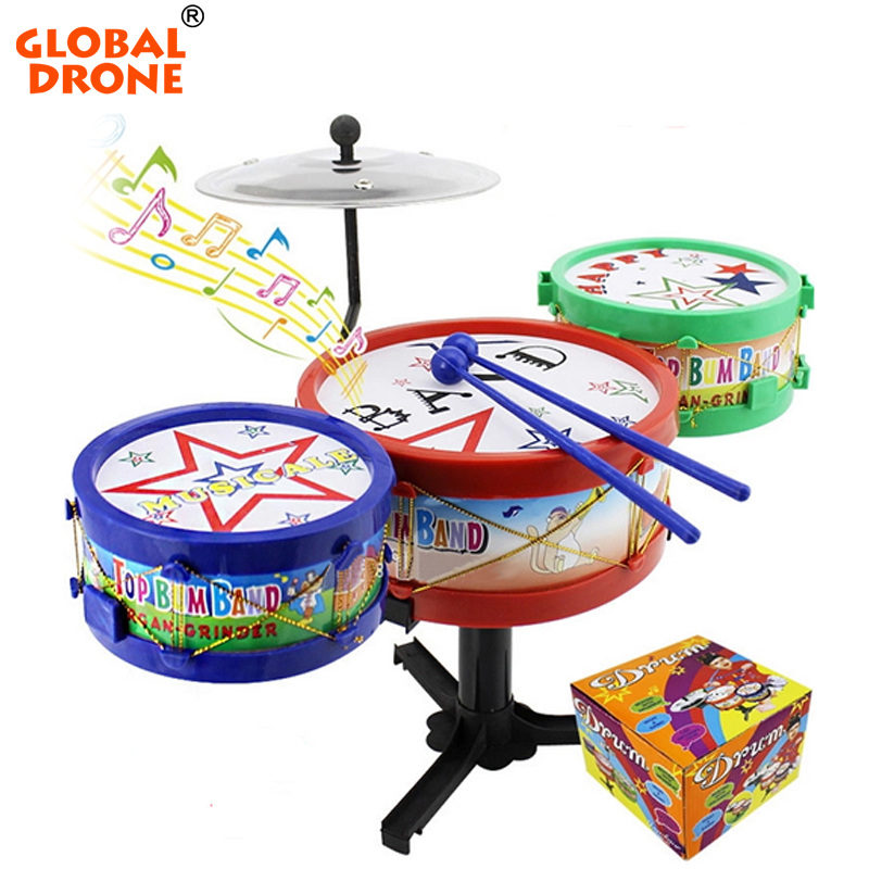 Global Drone Excellent Musical Toddler Toys Jazz Drum Rock Set Music Educational Toy Kids Early Learning Musical Drum Toy(China (Mainland))