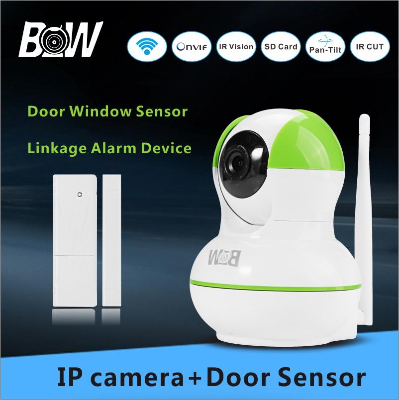 IP Camera Surveillance Camera 720P HD + Door Sensor Alarm Sensor Linkage Alarm Device CCTV Monitor System Wifi Camera BW12GR(China (Mainland))