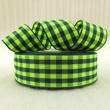10Y42281 1″(25mm) green plaid scotish ribbon printed polyester ribbon 10 yards, DIY handmade materials, wedding gift wrap