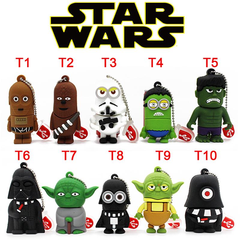 New arrival Pen Drive Star Wars Darth Vader Cartoon Lanyard Pendriver Chewbacca USB Flash Drives 8GB 16GB 32GB 64GB U disk Gifts(China (Mainland))