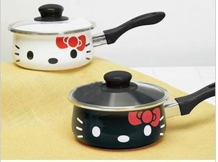 Wholesale-free shipping Hello kitty ceramic pan ceramic coating inside open soup pan,2 colors,1pcs/lot