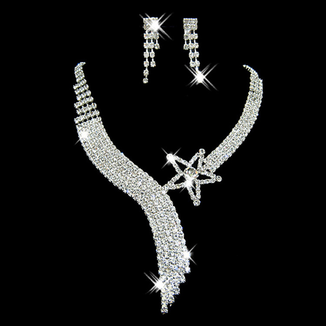 Tiara de la corona de plata cristal plateado gargantilla collar pendientes conjuntos de joyas de boda