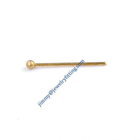 Jewelry Making findings Raw brass Ball head Pins Ball pins wholesale 0.5*12mm with 1.5mm beads shipping free