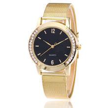 Relógios das Mulheres de Cristal de luxo Relógio de Ouro de Aço Cheio Reloj Mujer Relógio Relógio de Moda Relógio de Senhoras Relógios relogio feminino Dourado(China)