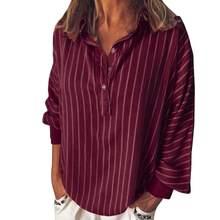 Модные летние женские блузки в полоску, свободная повседневная полосатая рубашка на пуговицах с отворотом, рубашка с длинными рукавами для ...(China)