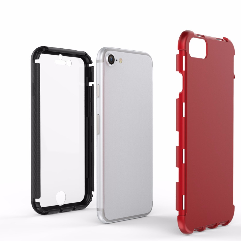 Apple iPhone 6 6s 7 4.7'' PC + Silicone Builtin Screen Protector Anti Shock Proof Case Plus Full Body Cover - Johnny08Store store