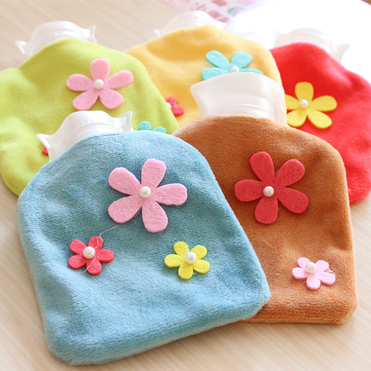 1 new style cartoon suede hot water bottle, removable washable pvc winter flowers bag mini hand warmer - Free dream city store