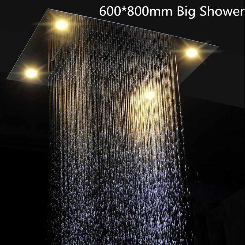 Fashion Waterfall Rainfall Stainless Steel Concealed Ceiling Rain Shower Head