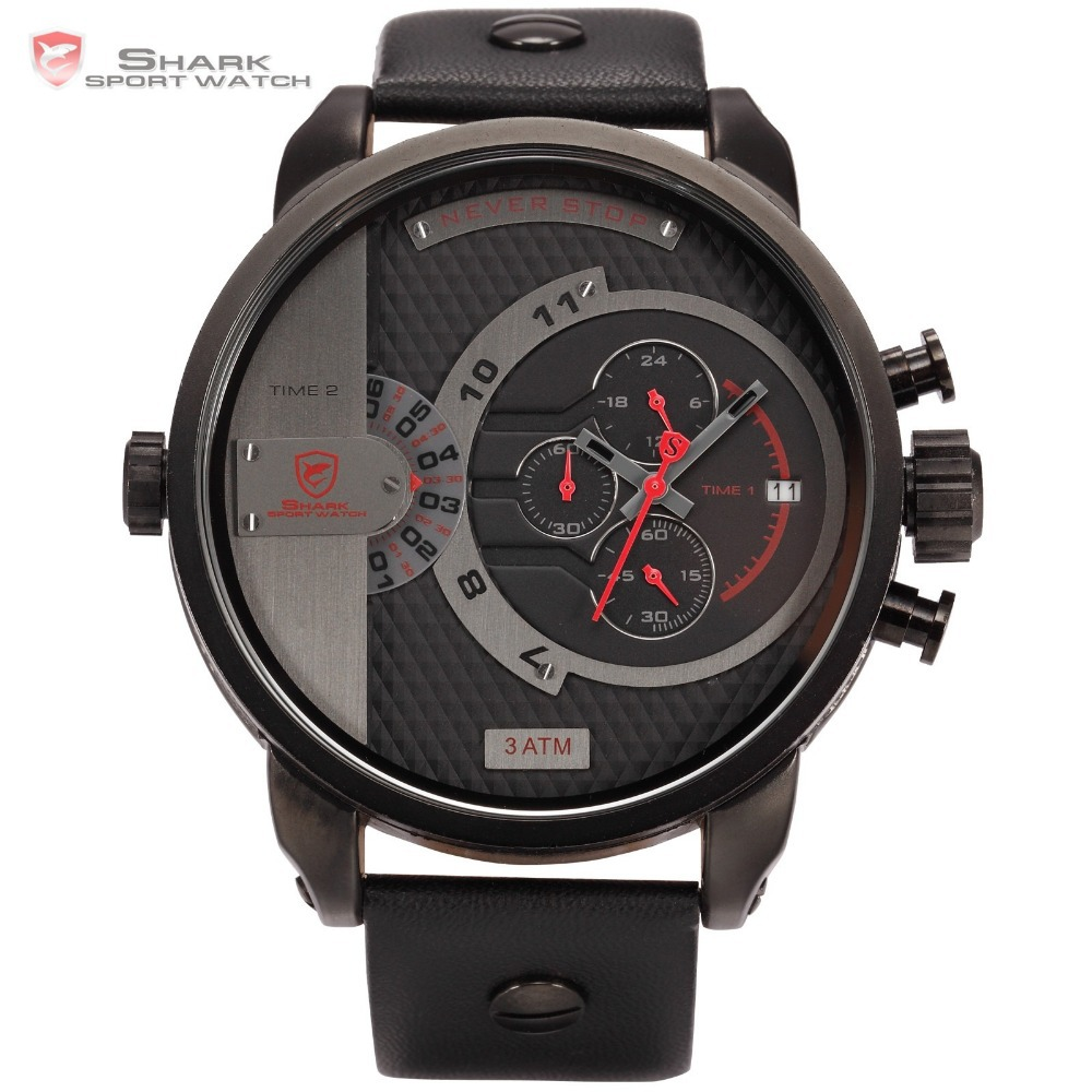 Luxury Leather Box WHALE Shark Leather Strap 6 Hands Stopwatch Black Red Wrap Big Face Watch For Men Military Sport Watch /SH158(China (Mainland))