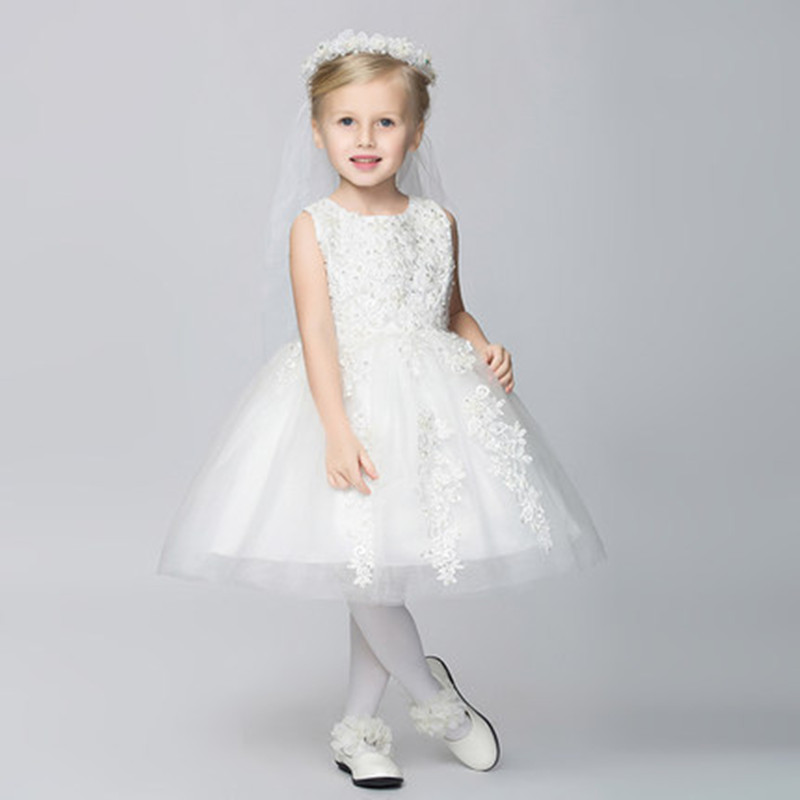 Kids Clothes Children White Lace Wedding Dress For Girls